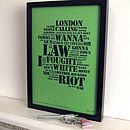 The Clash Distilled Letterpress Print