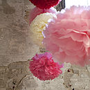 Three Tissue Paper POMs Rouge