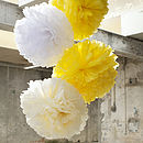 Three Tissue Paper POMs Blanc