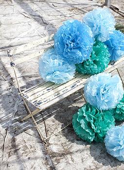 Three Paper Pom Poms Blue