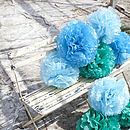 Three Tissue Paper POMs Blue