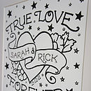 Personalised Love Tattoo Print With Diamante
