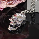 Silver Diamond Skull Necklace