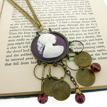 Purple Cameo Necklace With Dropper