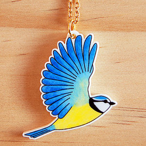 Blue Tit Charm Necklace - jewellery sale