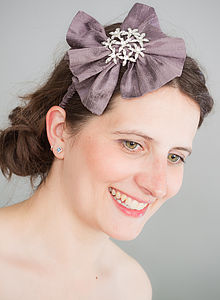 Dupion Silk Hair Bow With Diamante