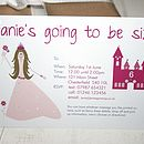 fully personalised princess party invite
