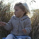 Girl's Oatmeal Merino Alpaca Hooded Cardi