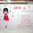 fully personalised pop star party invite