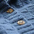 Girl's Denim Merino Alpaca Cardigan Button Detail