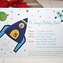 fully personalised space rocket party invite