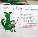 fully personalised dragon party invite