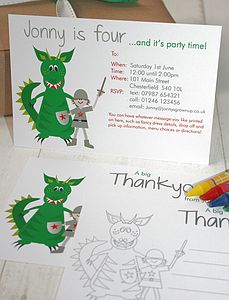 Dragon Party Invites Or Thank You Notes - children's party invitations