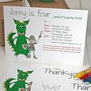Knights And Dragon Party Invites Or Thankyous