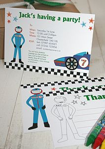 Racing Car Party Invites Or Thank You Notes