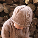 Merino Alpaca Cable Knitted Hat Caramel