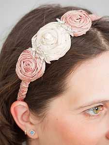 Triple Silk Rose Hair Band With Diamante - head pieces