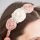 Triple Silk Rose Hair Band With Diamante