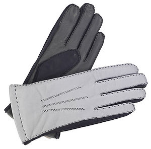 Alice. Women's Tricolour Lined Leather Gloves