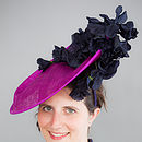 Sinamay Hat With Navy Silk Flowers