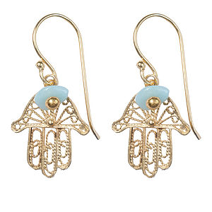 Fatima Hamsa Hand Earrings With Amazonite - earrings