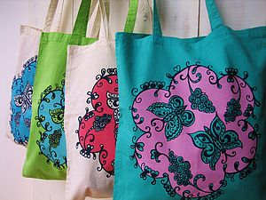 Flutterby Butterfly Screen Printed Tote Bag
