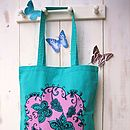 Close up Turquoise butterfly tote bag