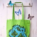 Close up lime butterfly tote bag