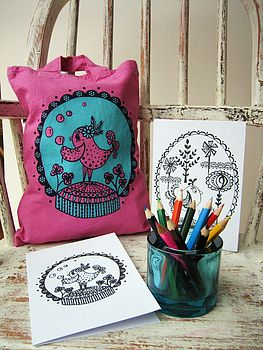 Little birdie pink screenprinted mini tote