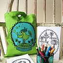 Little birdie lime screenprinted mini tote