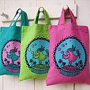 Little birdie screenprinted mini totes colourways