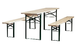 Wooden Trestle Table And Benches - furniture