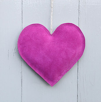 Large Pink Suede Lavender Heart