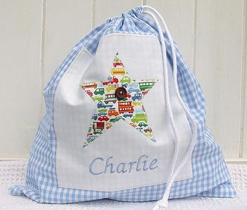 Personalised Boys Gingham Star Shoe Bag