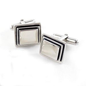 Square Sterling Silver Cufflinks - men's jewellery