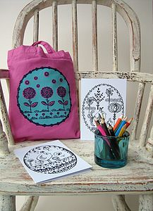 Little Flowers Mini Tote Bag & Colouring Kit - children's accessories