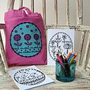 Little Flowers Mini Tote Bag & Colouring Kit