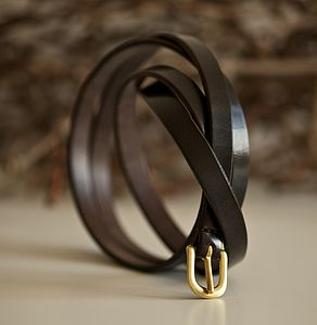 Handmade Leather Skinny Belt - womens