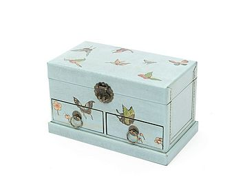 Jewellery Box With Drawers - Butterflies