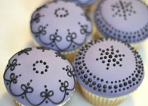 Purple And Black Couture Cupcakes
