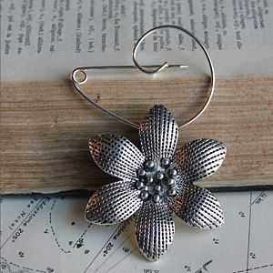 Swirl Pin Brooch With Stunning Silver Flower - jewellery sale