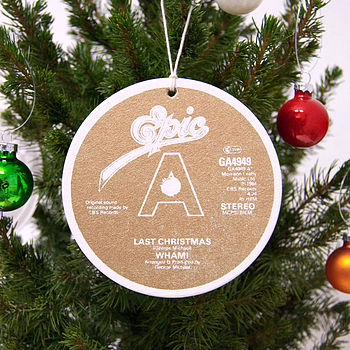 Pack Of Eight Record Label Christmas Baubles