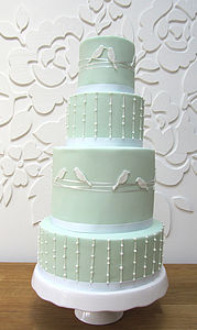 Lovebirds Four Tier Wedding Cake