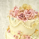 Vintage Beads And Flowers Wedding Cake