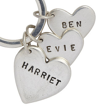 Personalised Silver Heart Charms