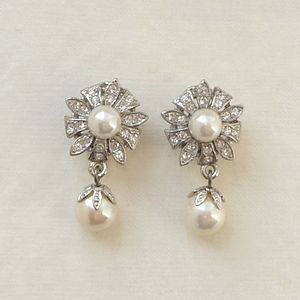 Antique Style Flower Pearl Clip On Earrings