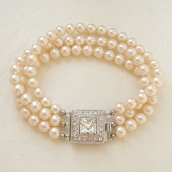 Art Deco Inspired Three String Pearl Bracelet
