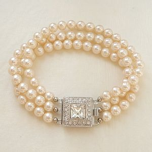 Art Deco Inspired Three String Pearl Bracelet - bracelets & bangles