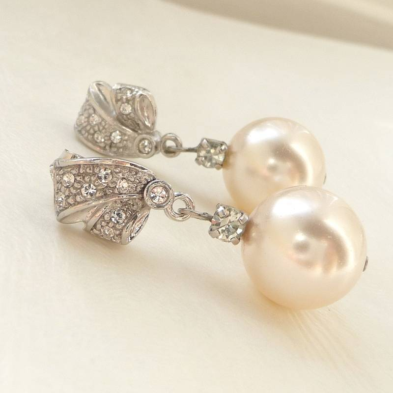 rhinestone and pearl earrings by katherine swaine ...