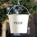 Enamel Country Living Style Peg Bucket